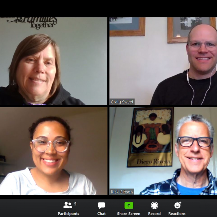 Achievement Plus staff on Zoom video call