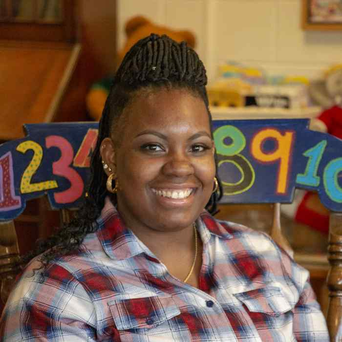 Angela Smith-Moore, an assistant teacher in the Toddle Bears classroom at the Wilder Child Development Center