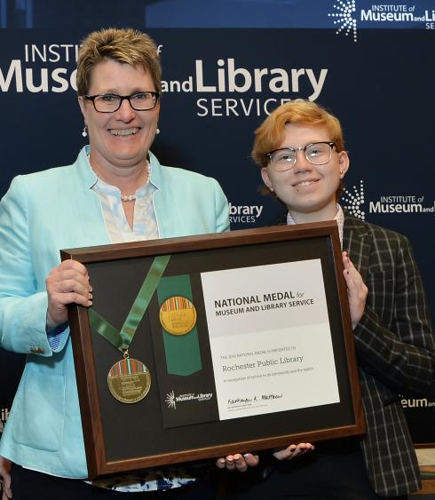 Rochester Public Library representatives receive the National Medal for Museum and Library Service.