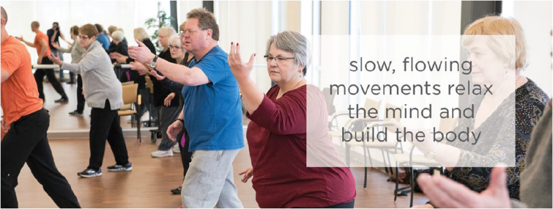 Older adults at a Tai Ji Quan: Moving for Better Balance wellness class