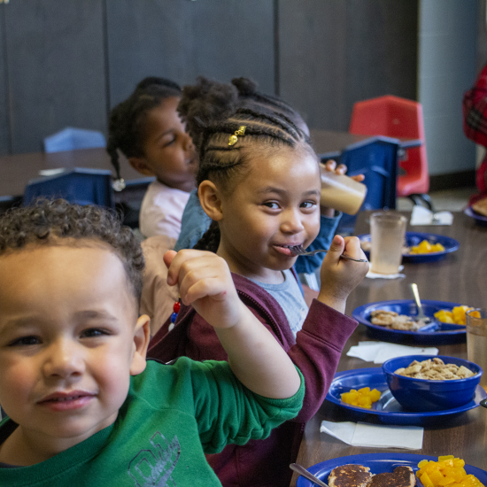 Students eating breakfast at Wilder Child Development Center