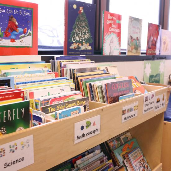 Children's books at the Wilder Child Development Center's library for preschoolers and toddlers