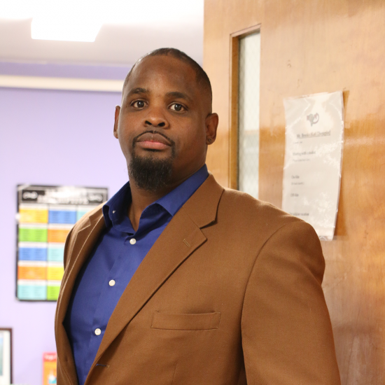 Michael Brooks, a school-based therapist for Wilder, outside his office at Ramsey Middle School
