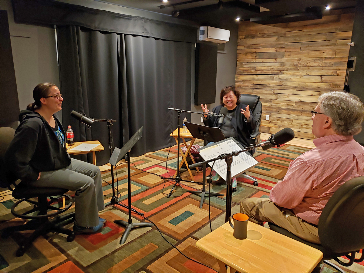 Wilder Research staff and guests recording a  podcast