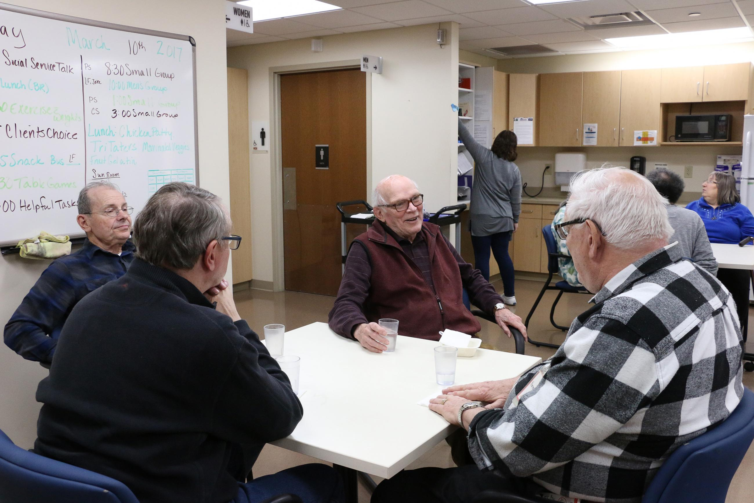 group of older adults talking, adult day health program, active programming for elders, healthy aging & caregiving, wilder foundation community center for aging