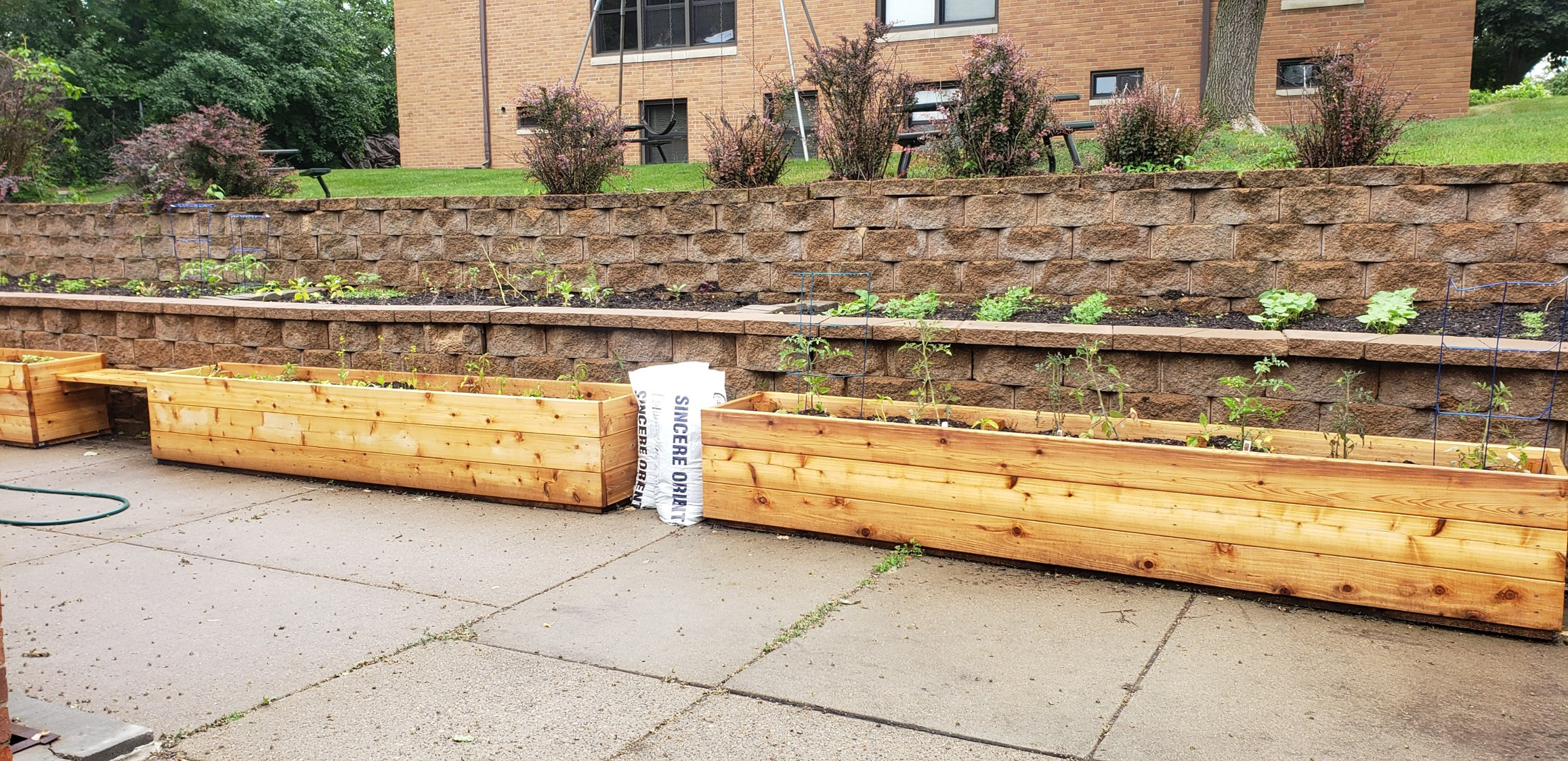 Garden boxes created by volunteers outside Wilder Center for Social Healing