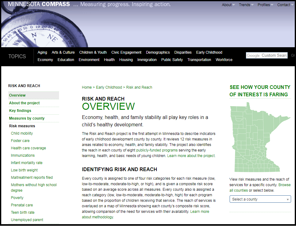 Photo of Risk and Reach web page on Minnesota Compass web site