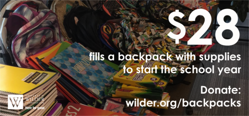 Wilder Foundation's 2020 Tools for School Success Backpack Drive