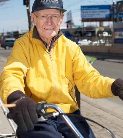 Older man on bicycle